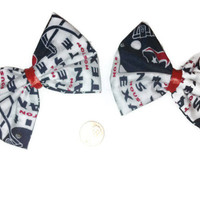 Houston Texans Hair Bows, Football Bows, Handmade Bows, Cheer bows, Gift Ideas