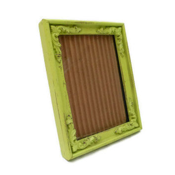 Green Picture Frame - Baroque Style Distressed Frame - Bright Green - 5x7