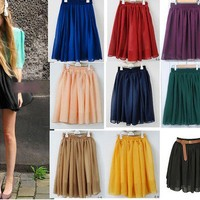 High Waisted Elastic Double Chiffon Pleated Layered Skirt