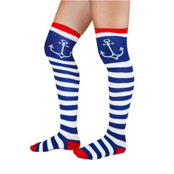 Gallery Ho 19″ Socks Stripe/Anchor Print Socks In Navy/White/Red | Thirteen Vintage