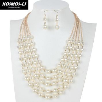 KOSMOS-LI Fashion Imitate Plastic Pearl Necklace Gold Plate Chain 5 Layer Necklace For Women Bohemia Party Jewelry collier 6020
