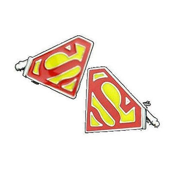 Basket Hill ,DC Comics Superman Logo in Red and Yellow Cufflinks