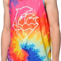 Pink Dolphin Waves Warm Tie Dye Tank Top