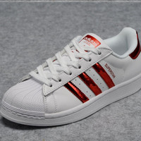 """Adidas"" Fashion Shell-toe Flats Sneakers Sport Shoes Red"