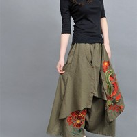 Casual Indian Wide Leg Skirt Pants With Embroidery Pattern - NC217 | StylishLife - Clothing on ArtFire