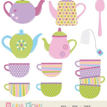Tea Time Clip Art Set- teapots, cups, spoon, tea bag, colorful,cute, instant download, vector, eps, png, jpeg, scrapbooking, digital design