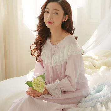 Palace lace sleeping dress womens spring autumn long sleeve vintage nightgowns cotton princess nightdress home dress for sleep