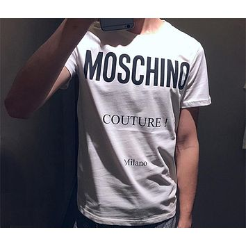 Moschino 2018 spring and summer men and women with the same paragraph long letter printing T-shirt F-ZYHFS white