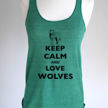 Keep Calm and Love Wolves Soft Eco-Heather Racerback Tank by Alternative Apparel