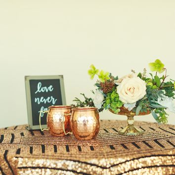 Rose Gold Sequin Tablecloth | Art Deco Wedding