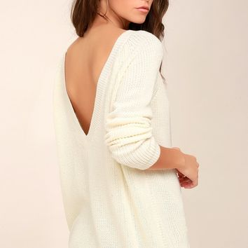Just For You Cream Backless Sweater