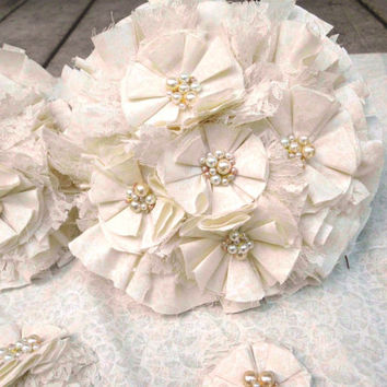 """Rustic Wedding Bouquet, Vintage, Lace, Ivory, White, Pearl Cream, Romantic, pearls, Fabric Flower Bouquet, weddings 12"""""""