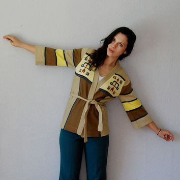 wrap ARROW cardigan / 1970s FLARED sleeve wrap by vintagemarmalade