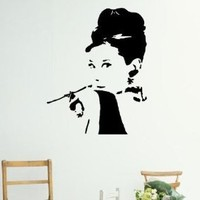 "Audrey Hepburn Portrait Figure Silhouette Wall Art Decor Decal Vinyl Sticker Home Office Corp Girl's Bedroom Dorm Decor Picture Mural Birthday Gift - 24""H Black"