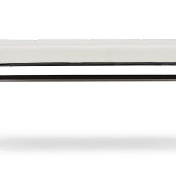 Baxton Studio Herald Modern and Contemporary Stainless Steel and White Faux Leather Upholstered Rectangle Bench Set of 1