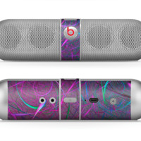 The Purple and Blue Electric Swirls Skin for the Beats by Dre Pill Bluetooth Speaker