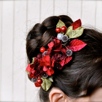 Holiday red flower comb with sage green by TutusChicBoutique