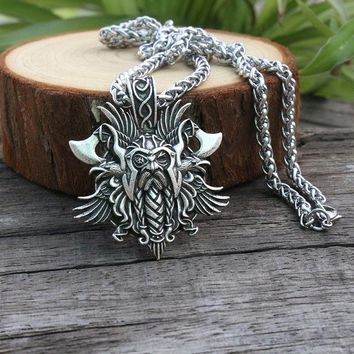 1pcs lanseis 1pcs viking Odin by Helena Rosova necklace pendant Heathen men pendant norse jewelry viking cross raven pen
