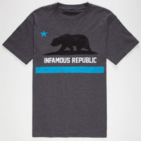 Infamous Cali Life Mens T-Shirt Charcoal  In Sizes