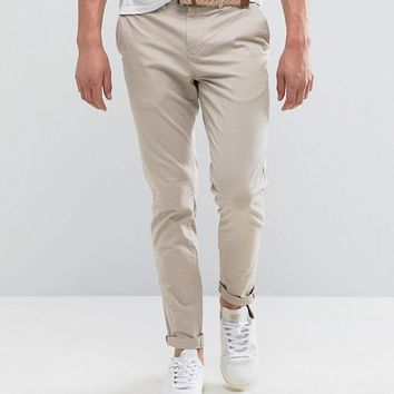 Pull&Bear Slim Chinos With Belt In Stone at asos.com