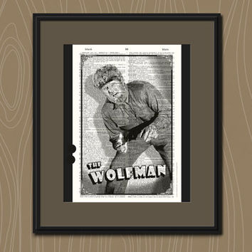The Wolfman Vintage Dictionary Art Print HALLOWEEN WALL ART Holiday Home Decor Retro Upcycled Book Hollywood Poster Halloween Party Decor