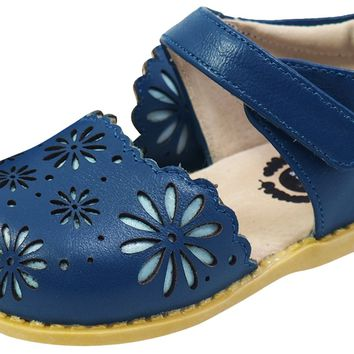 Livie & Luca Girl's Carmen Navy Blue Leather Peep Toe Sandal Flats