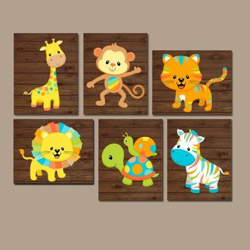 Safari Animals Nursery Wall Art Jungle Baby Boy D