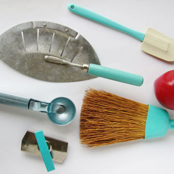 Vintage Kitchen Tools 5 Pcs. Turquoise 1950s 1960s Rubbermaid Spatula, Edlund Opener, Foley Stainer, Eichin Scoop, Plas-Bond Whisk Broom