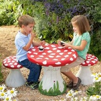 Handpainted Lightweight Resin Mushroom Table:Amazon:Home & Kitchen