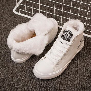 Women Boots Snow Warm Winter Sneakers  Boots Lace Up Boots Ladies Winter Shoes Black