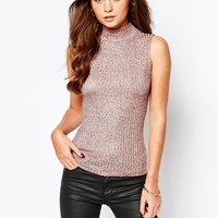 New Look Metallic High Neck Top