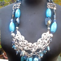 Italian Statement Necklace, Boho Necklace, Gypsy Necklace, Silver Turquoise and Natural Stones