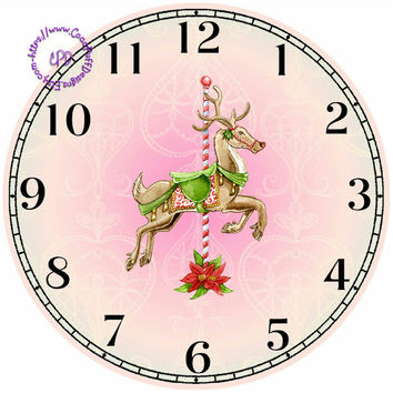 """Merry-Go-Around Reindeer Art - -DIY Digital Collage - 12.5"""" DIA for 12"""" Clock Face Art - Crafts Projects"""