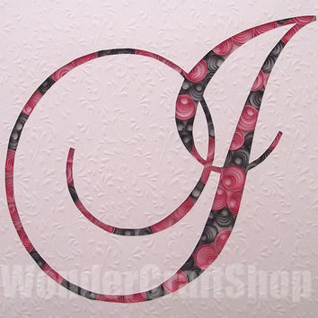 custom made letter, monogram i, pink and grey decoration, paper art, letter ornament, wall hanging letter, stand alone initial, quilling