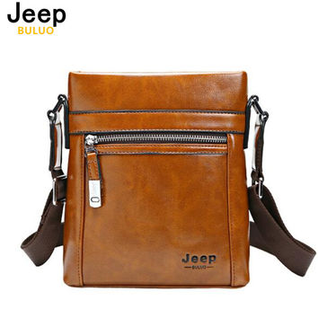 JEEP BULUO High Quality Theftproof Waxy Pu Leather Brand Man Bag With Metal Hasp Small Men's Crossbody Bag Shoulder Bags 0611