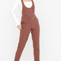 Women's Woven Overall Jumpsuit with Tapered Legs
