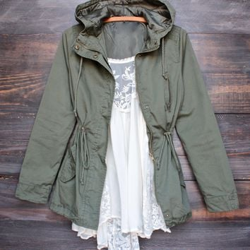 Womens Hooded Utility Parka Jacket With Drawstring Waist   More Colors