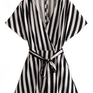 'Cilla' Black & White Striped Wrap Dress