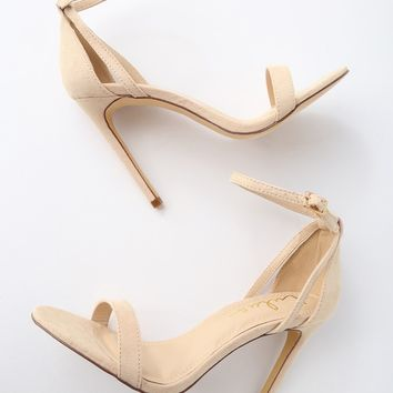 Sila Nude Suede Ankle Strap Heels
