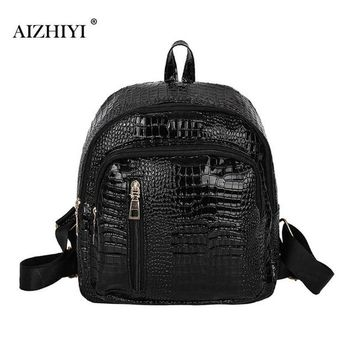 University College Backpack Bright PU  Crocodile Pattern  Wind Schoolbag Washed Book Shoulder Bag Women Travel Bag Small Rucksack AT_63_4