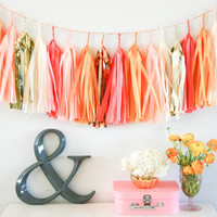 SUMMER SUNSET tissue tassel garland party decoration