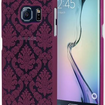 Galaxy S6 Edge Phone Case, Bastex Hard Protective Pink Damask Design Case Cover for Samsung Galaxy S6 Edge G926