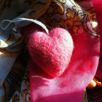 Fuzzy Felted Merino Wool Heart, full & round solid wool hot pink heart ornament, 2 inces by 1 1/2 inches Valentine's Day Ornament