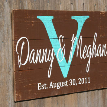 Personalized Name Sign Wedding Gift Bridal Shower Gift Pallet Sign Custom Name Sign Initial Name Sign Monogram Distressed Wood Wall Art