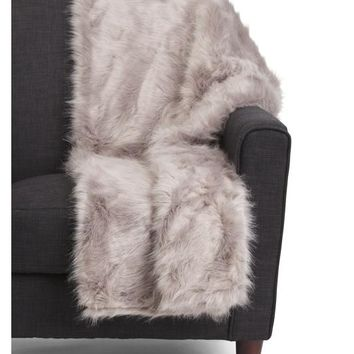 Designer Luxury Faux Fur Gray Gift Boxed Throw Blanket
