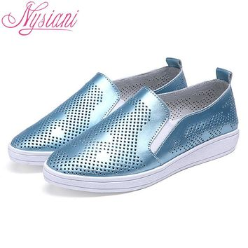 Nysiani 2017 Split Leather Shoes Woman Brand Designer Shoes Slip On Hollow Out Shoes New Summer Breatchable Ladies Loafers
