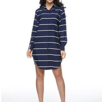 Vintage Blue Long Sleeve Stripes Shirt Hot Sale One Piece Dress [6338929921]