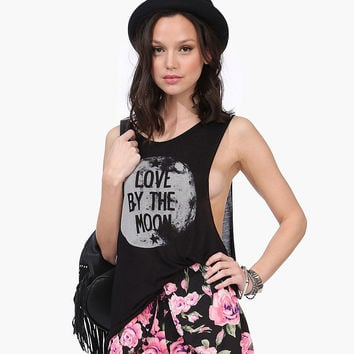 Black Love By The Moon  Printed Loose Tank Top