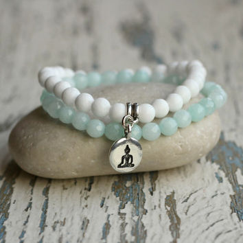yoga bracelet women bracelet yoga charm zen gift for her meditation beaded bracelet turquoise bohemian stacking bracelet girlfriend jewelry