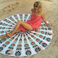 Shopnelo sale Indian Mandala Round Tapestry Wall Hanging Beach Throw Towel Yoga Mat Boho Decor outdoor beach camping mat